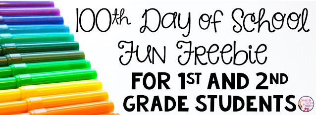 100th Days of School Free Activities for Kindergarten and First Grade Math Students