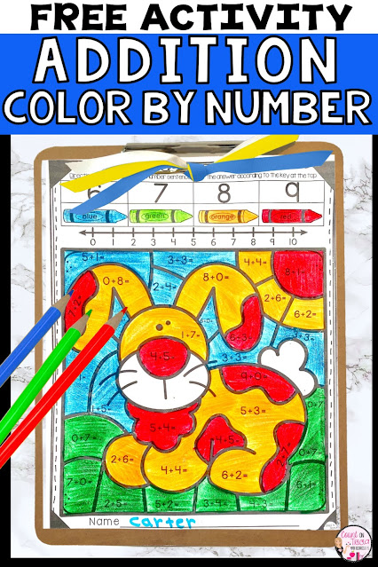 Addition Color by Number Free Activity for Kindergarten Math, First Grade Math and Second Grade Math Review