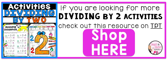 Division dividing by 2 Activities for 3rd Grade Math and 4th Grade Math Students