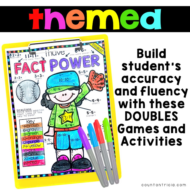 Add Doubles Facts Free Anchor Chart and Addition Activities for First Grade Math