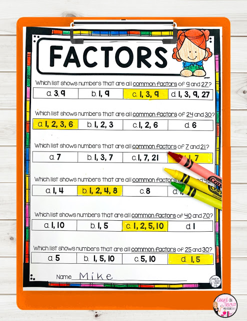 Ways to Practice Greatest Common Factor in the Elementary Classroom