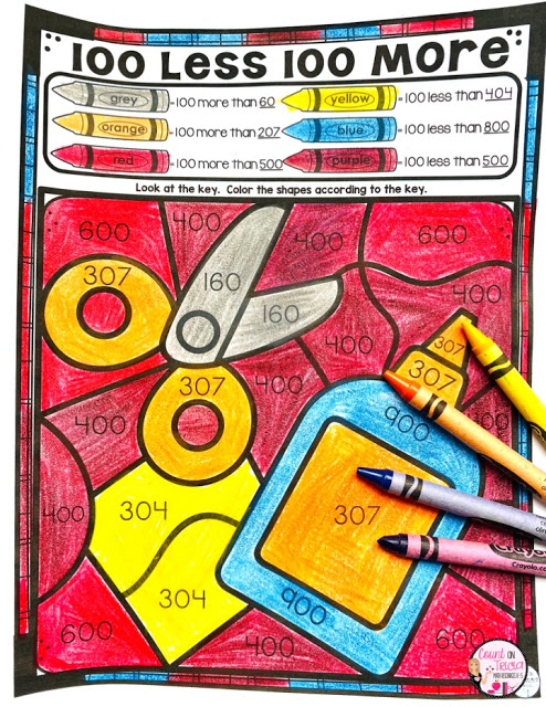 10 More 10 Less 100 More 100 Less First Grade Math Free Activities