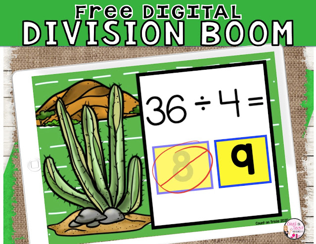 Free BOOM Cards Division Divide by 4 Digital Learning Game