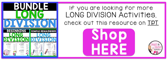 Long Division for Beginners Activities for 4th Fourth Grade Math