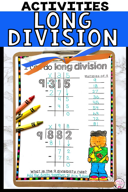 Long Division Activities for beginning division for 4th Fourth Grade and 5th Fifth Grade Math
