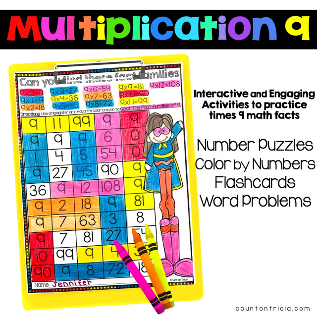 Multiplication Times 9 Activities and Games for Third Grade Math and Fourth Grade Math Students