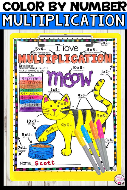 Multiplication Color by Number Activities Free for 2nd grade math, third grade math, fourth grade math and fifth grade math centers