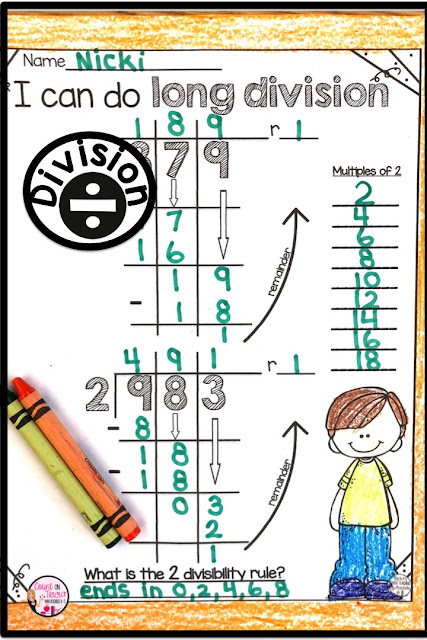 long division practice activities for beginning division 4th grade math