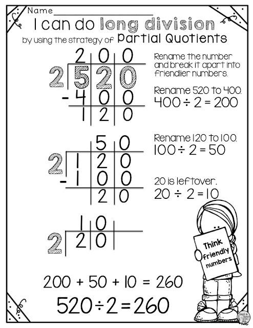 long division for beginners partial quotients FREE activity for 4th grade math